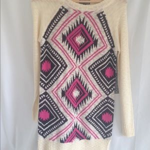 Hot Pink and Cream Tribal Sweater